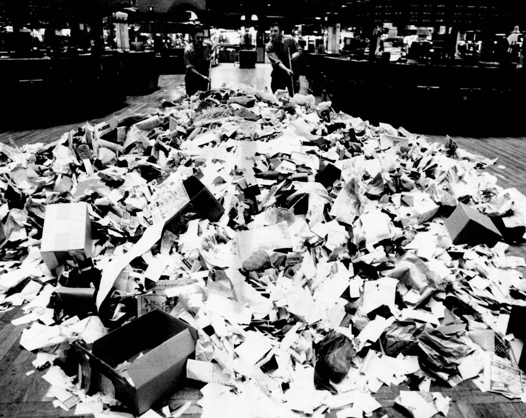 Stock Photo: 4048-9605 Paper refuse after heavy trading on the New York Stock Exchange on Oct. 10, 1974. The day saw its best monthly gain since Gerald Ford became president on August 9, 1974.