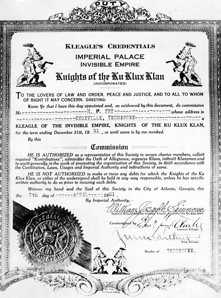 Stock Photo: 4048-9640 A certificate of membership and position within the KKK, in Illinois, April 20, 1921.