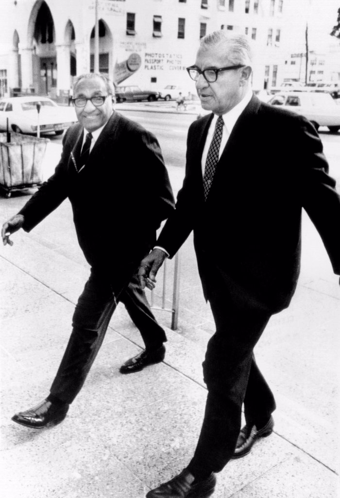 Stock Photo: 4048-9686 Cosa Nostra chieftains appeared before a Federal Grand Jury in Miami. Anthony 'Big Tuna' Accardo (left), the semi-retired head of organized crime in Chicago, and Gaetano 'Big Tony' Ricci (right), the chief coordinator of Mafia activities between Chicago and New York arrive at court. April 9, 1969.