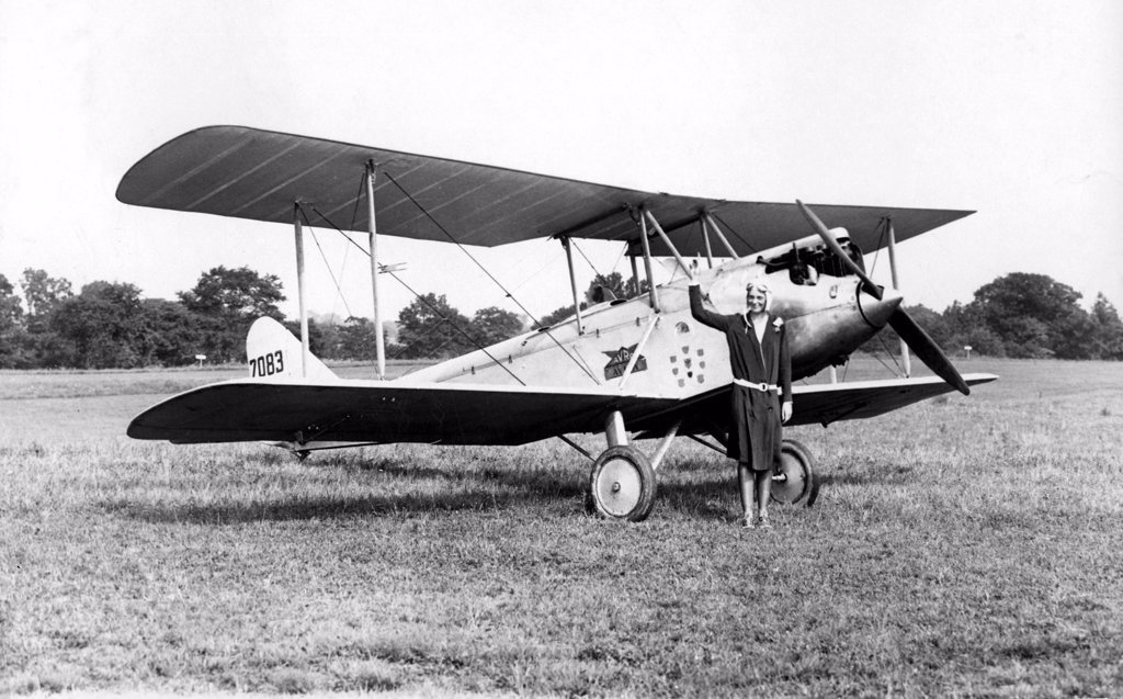 Stock Photo: 4048-975 BRIARCLIFF, NY--Miss Amelia Earhart, the well-known pilot, tested out for the first time the Avro-Avian biplane which she bought from Lady Heath of England. It is the plane in which Lady Heath made her memorable trip over Africa recently. 1928.