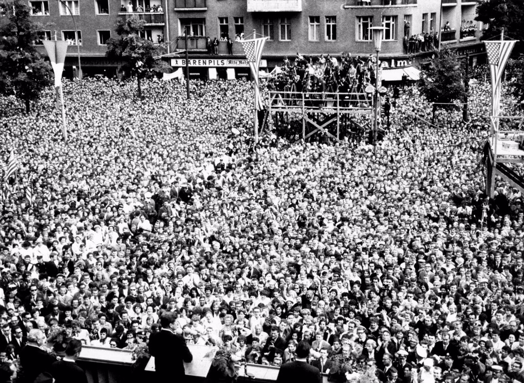 Stock Photo: 4048-9775 President Kennedy (left center foreground) tells the crowd in front of West Berlin City Hall that 'Ich bin ein Berliner' (I am a Berliner). June 26, 1963.