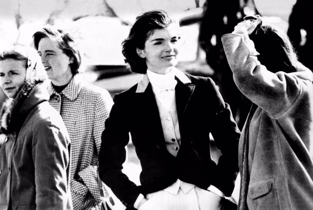 Stock Photo: 4048-9777 Jacqueline Kennedy at a hunt in Virginia in June 1961.