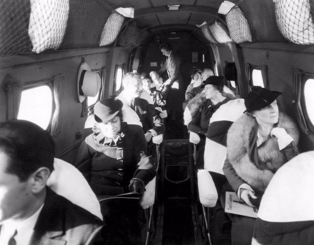 Stock Photo: 4048-985 Interior of United Airlines plane, circa 1935