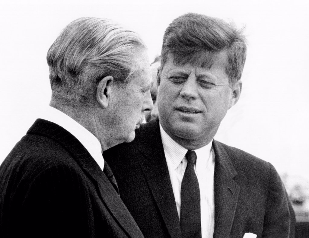 British Prime Minister Harold Macmillan (left) and President Kennedy. The leaders met in Bermuda for two days of talks. Dec. 21, 1961. : Stock Photo