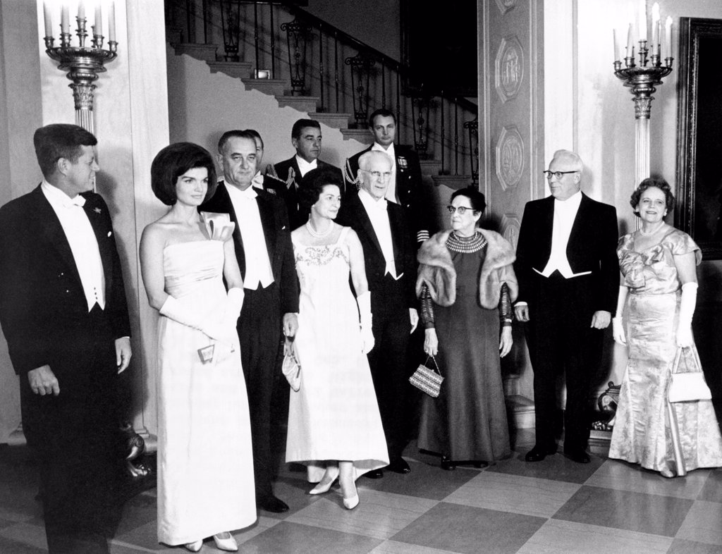 Stock Photo: 4048-9935 President John and Jacqueline Kennedy at a White House dinner honoring the Executive and Judicial heads of the Government. L-R: President and Mrs. Kennedy, VP and Mrs. Lyndon Johnson, House Speaker and Mrs. John McCormack, and Chief Justice and Mrs. Earl Warren. Jan 21, 1963.