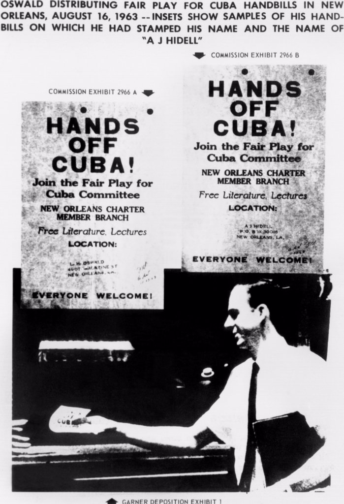 Stock Photo: 4048-9954 Warren Commission Exhibit. JFK assassin Lee Harvey Oswald distributing Fair Play for Cuba handbills on which he had stamped his name and the name A. J. Hidell.