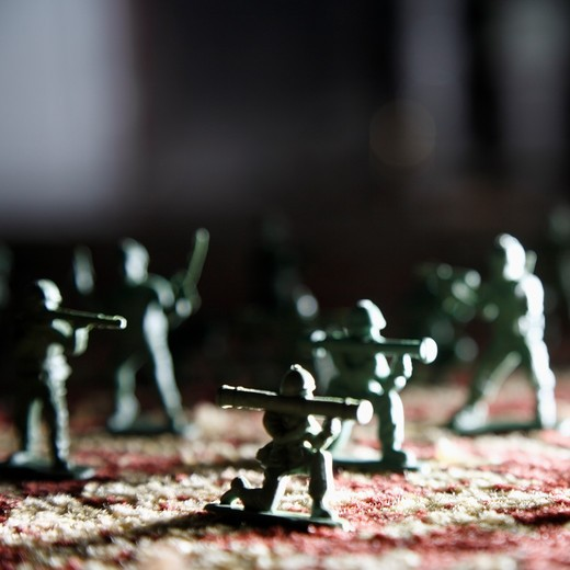 A collection of toy army men : Stock Photo