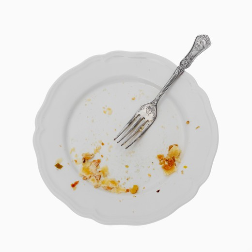 Stock Photo: 4049R-149 Close-up of a dirty plate with a fork