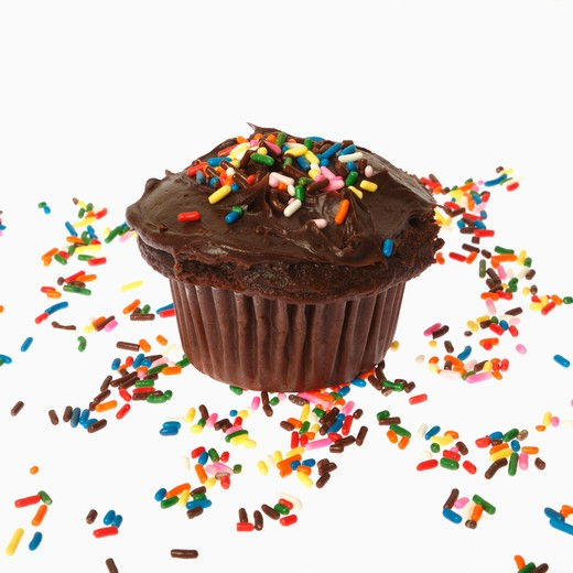 Close-up of a chocolate cupcake with sprinkles : Stock Photo