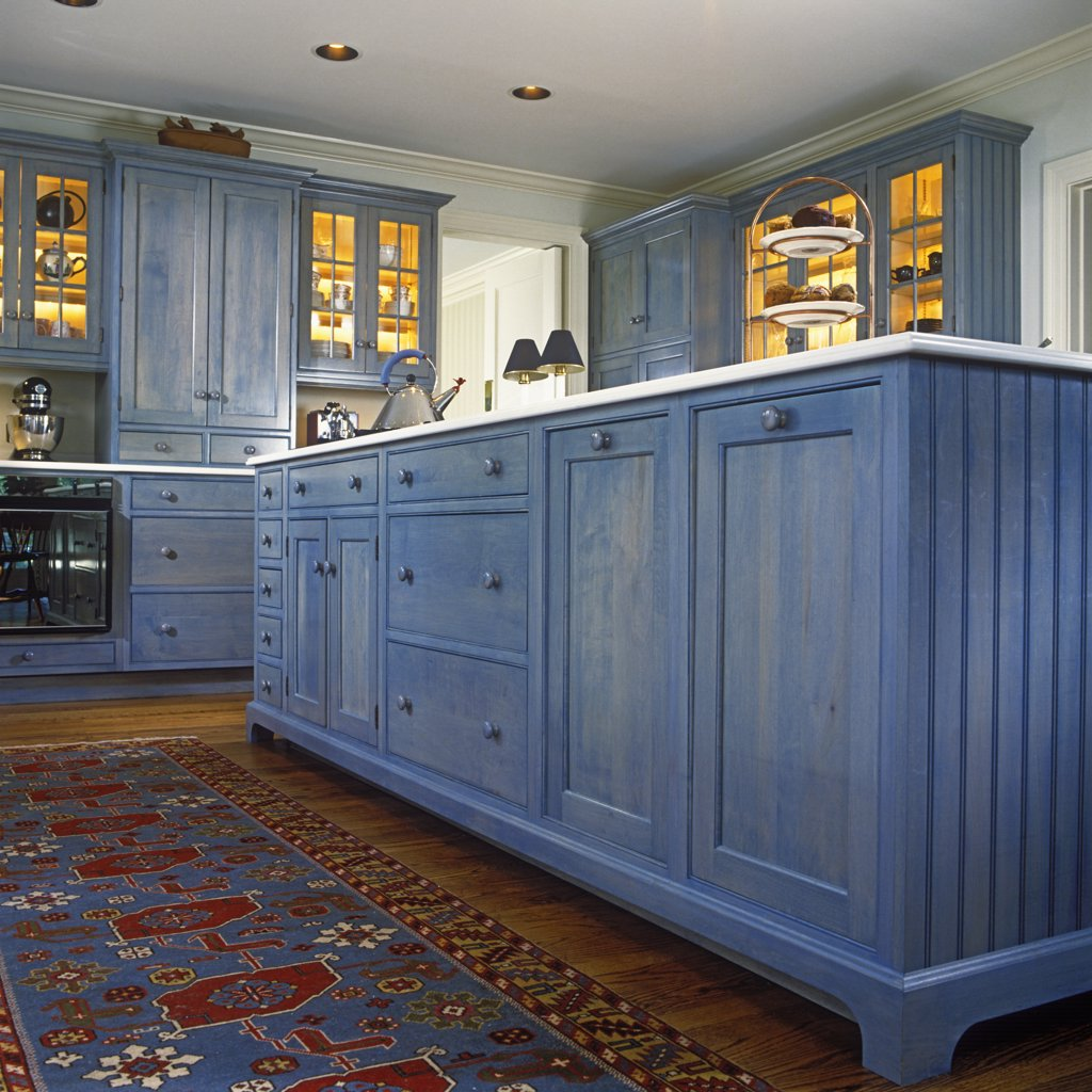 KITCHENS: Detail of island cabinets with blue transparent stain. : Stock Photo
