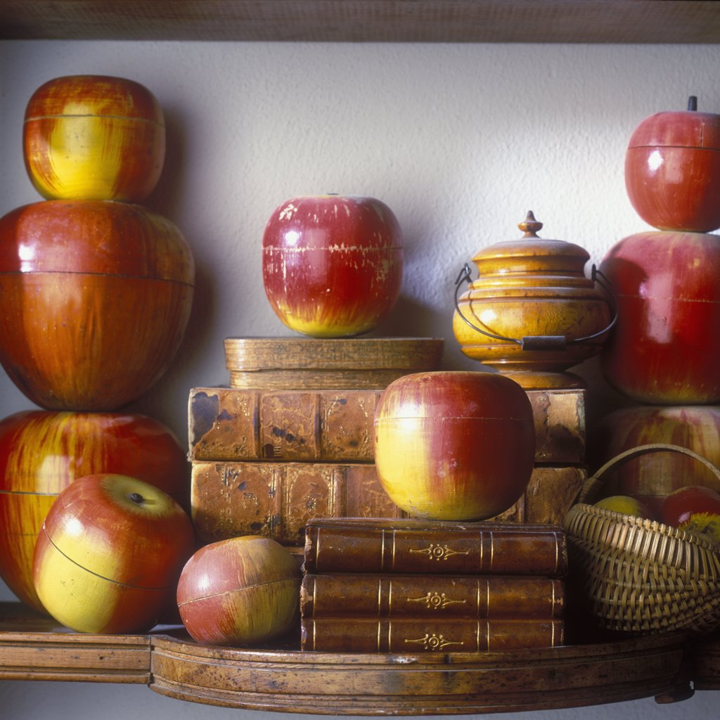 Stock Photo: 4053-10910 COLLECTION DISPLAY - Vintage wooden apples made in Japan and Germany during 1940's and 1950's were sold in nesting sets of four and five.