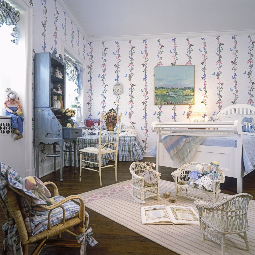 Stock Photo: 4053-11348 CHILDREN'S BEDROOM: Young girls bedroom, white and blue, wood floors, white wallpaper with vertical floral design, white wooden bed, hand painted vertical floral design, white wooden bed, hand painted blue secretary.