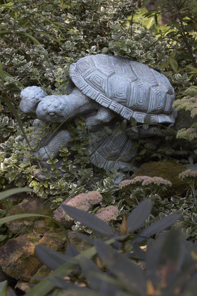 Stock Photo: 4053-11967 GARDEN: DETAIL  turtle sculptures