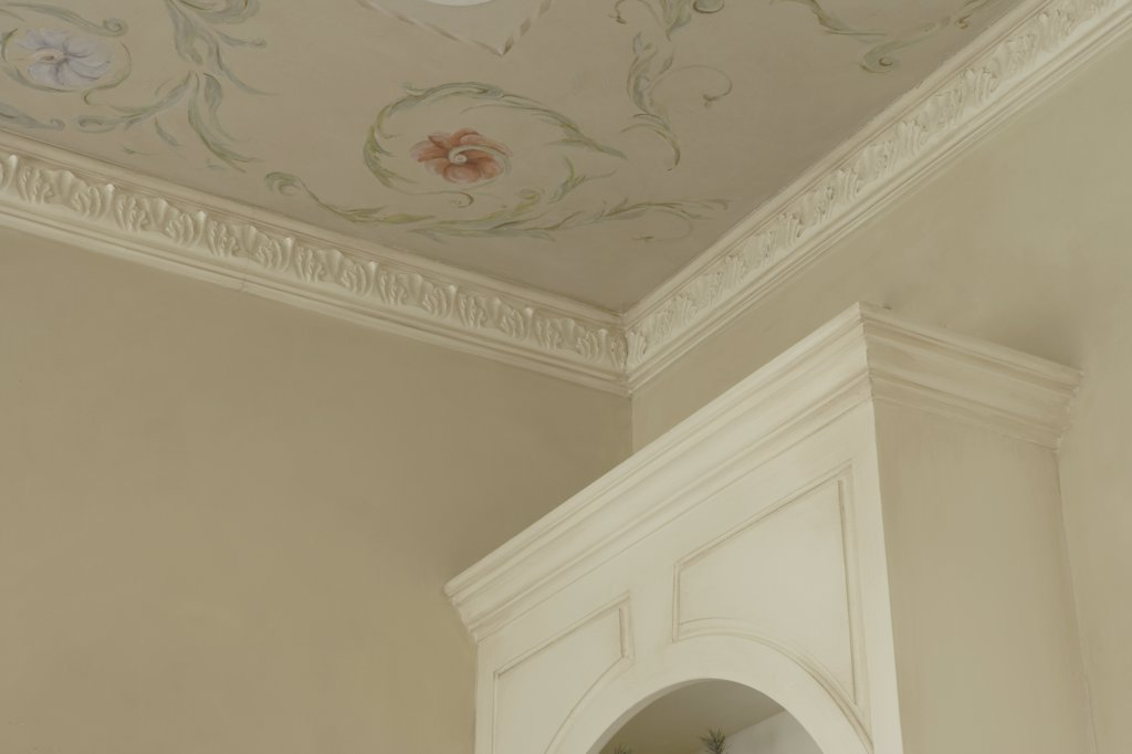 ARCHITECTURAL TRIM: Ornate crown molding, painted flowers and scrolled foliage on ceiling, partial bookcase : Stock Photo