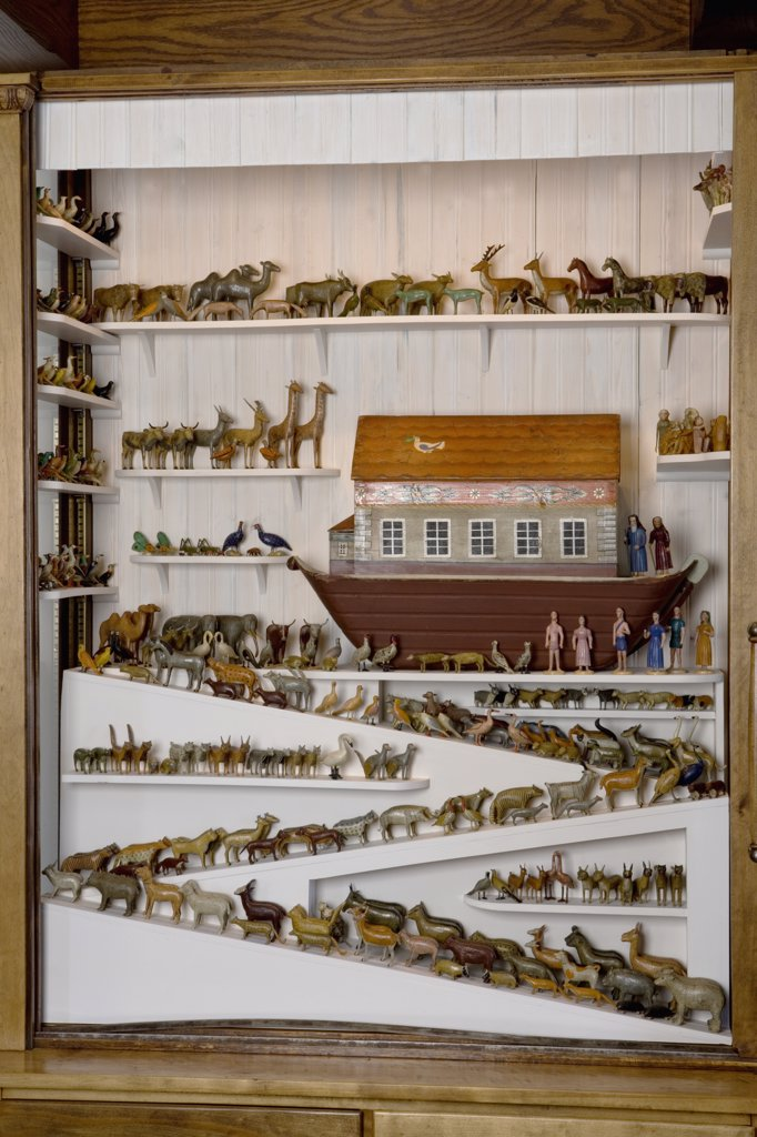 Stock Photo: 4053-12077 COLLECTIONS: NOAH'S ARKS: German 1850's, over 200 pair of carved and painted animals including primates, birds and bugs, custom display with many ramps