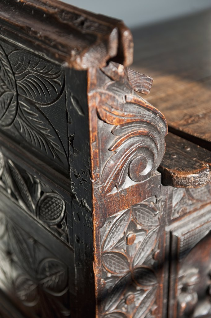 Detail carved wooden bench : Stock Photo