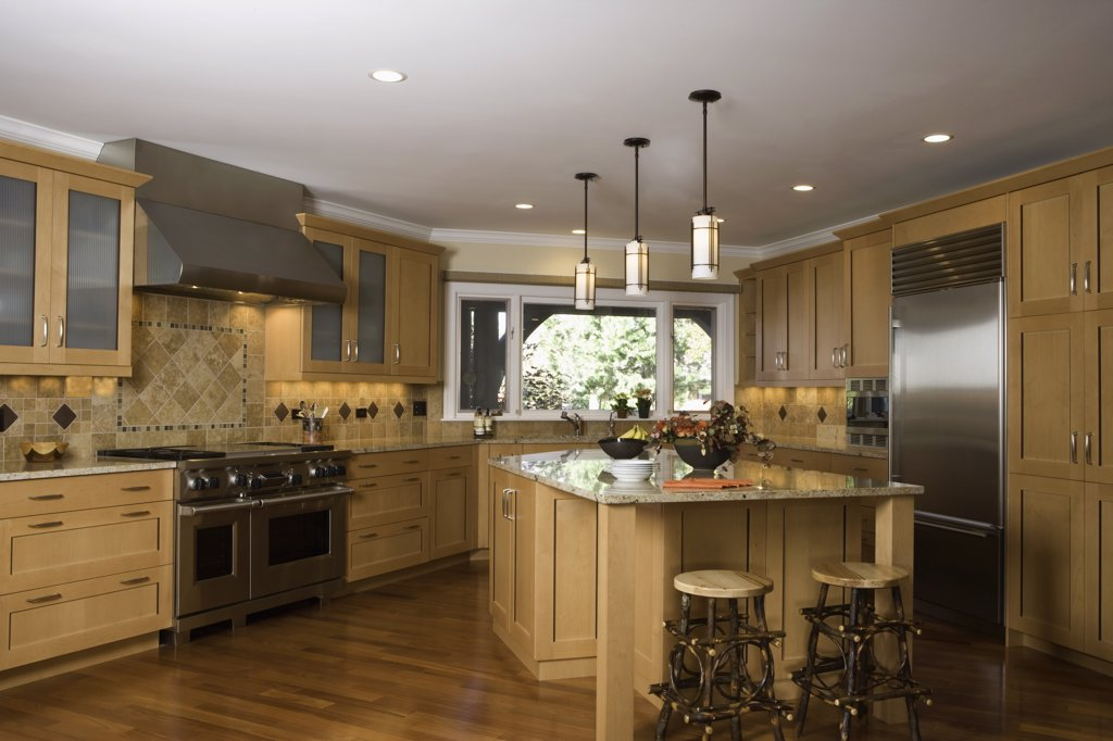 KITCHEN: contemporary mixed with Arts and Crafts, casual ,  twig stools at a large center island, Craftsman style pendant lighting, : Stock Photo