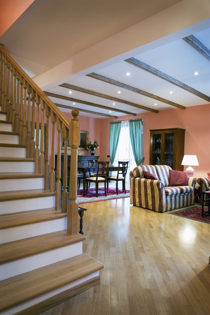 Stock Photo: 4053-12635 Staircase and living room in Italian home