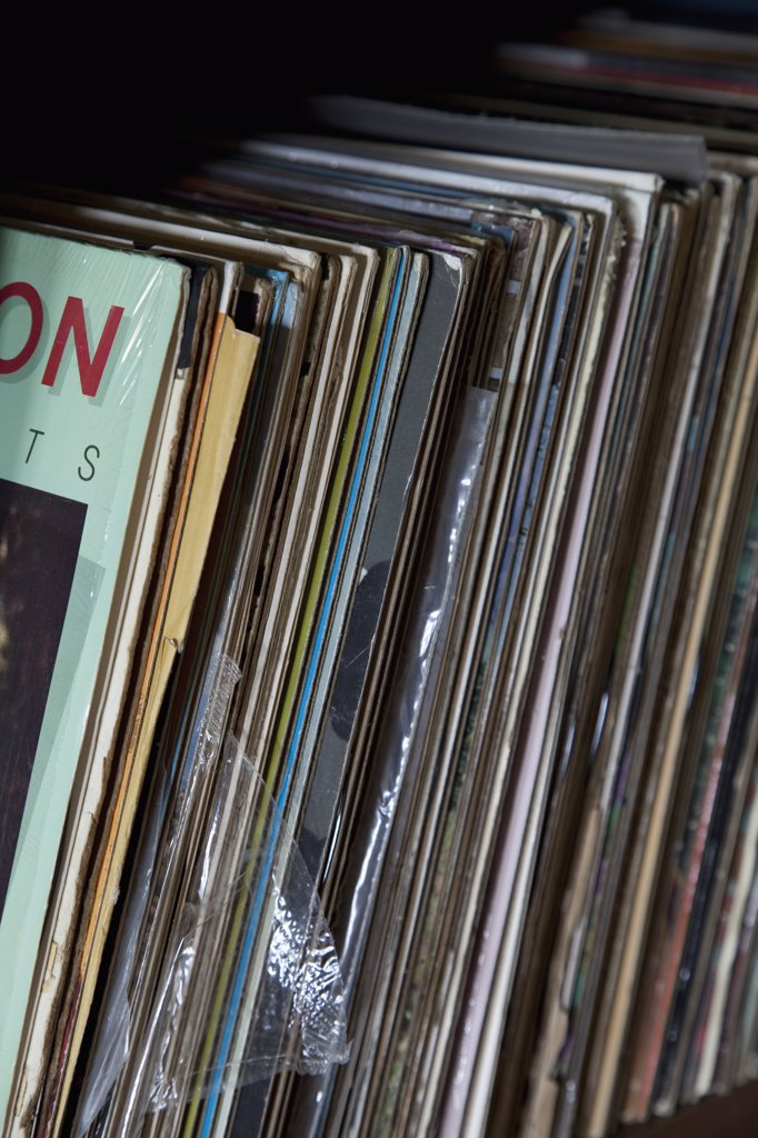 Collection of records on shelf : Stock Photo