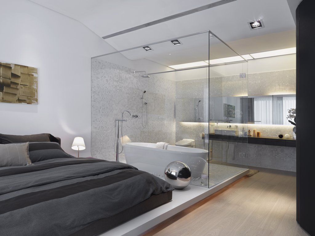 Stock Photo: 4053-3522 Modern bathroom inside bedroom with glass wall