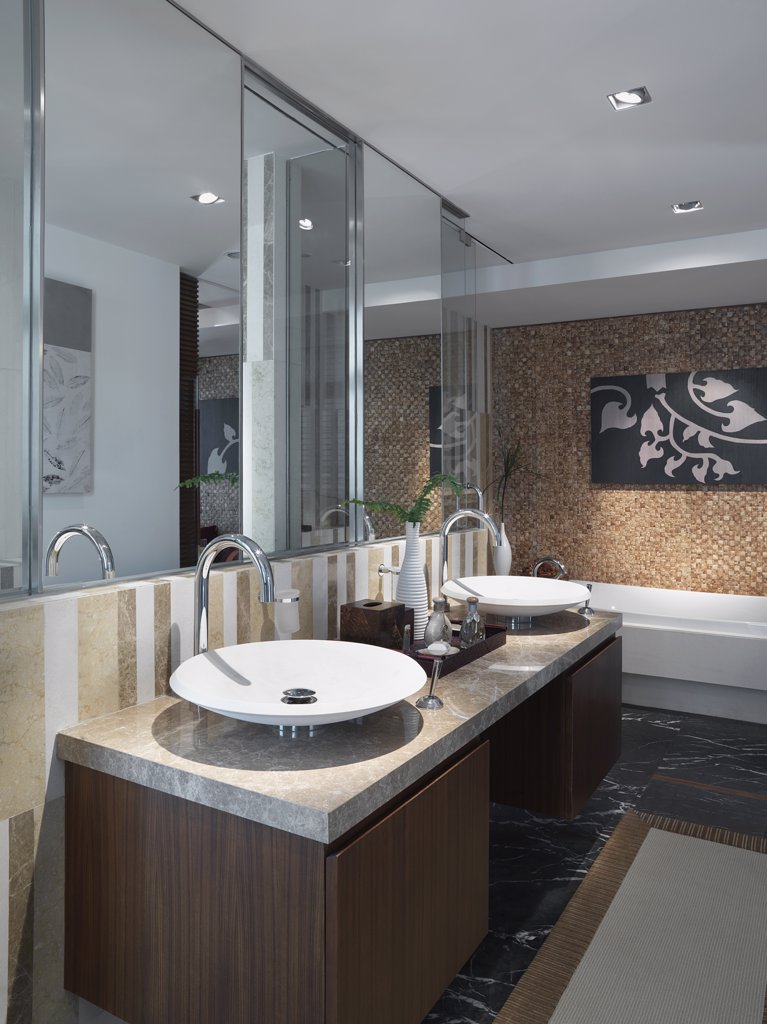 Stock Photo: 4053-3552 Contemporary bathroom with double sinks
