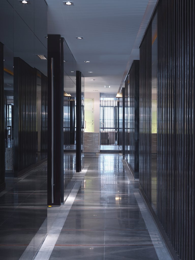 Stock Photo: 4053-5209 Dark colored modern hallway
