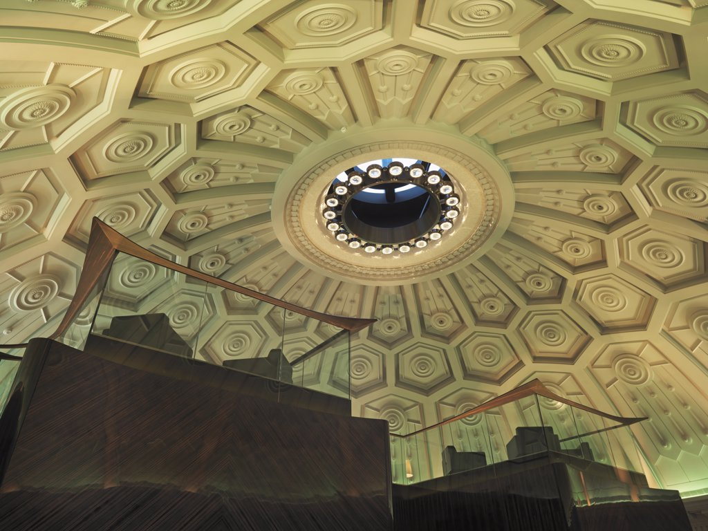 Architectural detail inside dome : Stock Photo