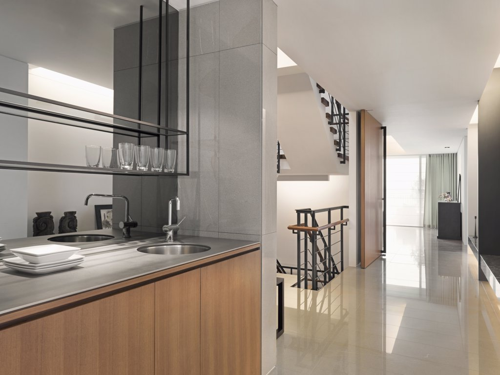 Hallway from kitchen through modern home : Stock Photo