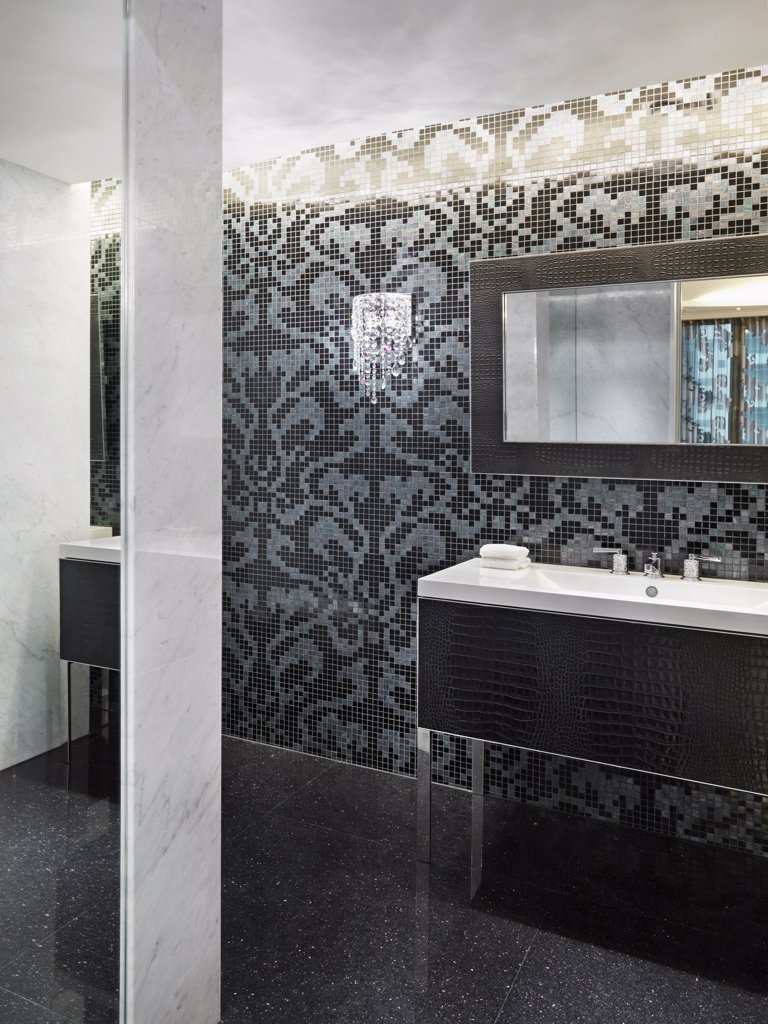 Bathroom with mosaic tile wall : Stock Photo