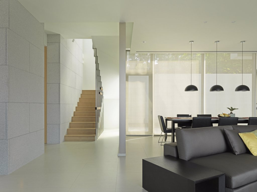 Living room and staircase in modern interior : Stock Photo
