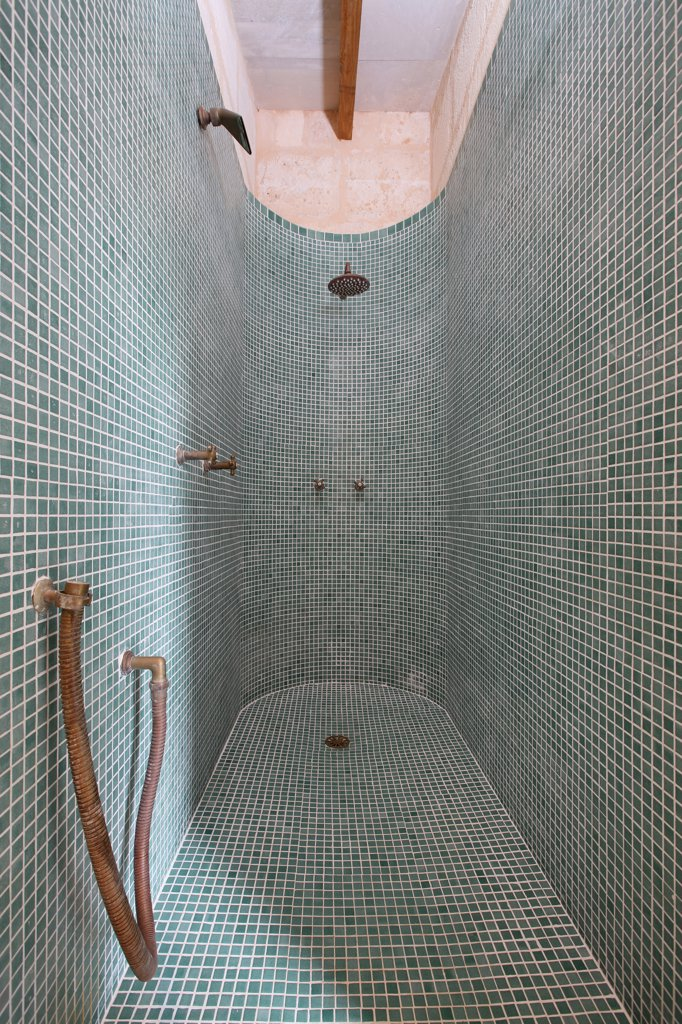Stock Photo: 4053-8435 Mosaic tile shower