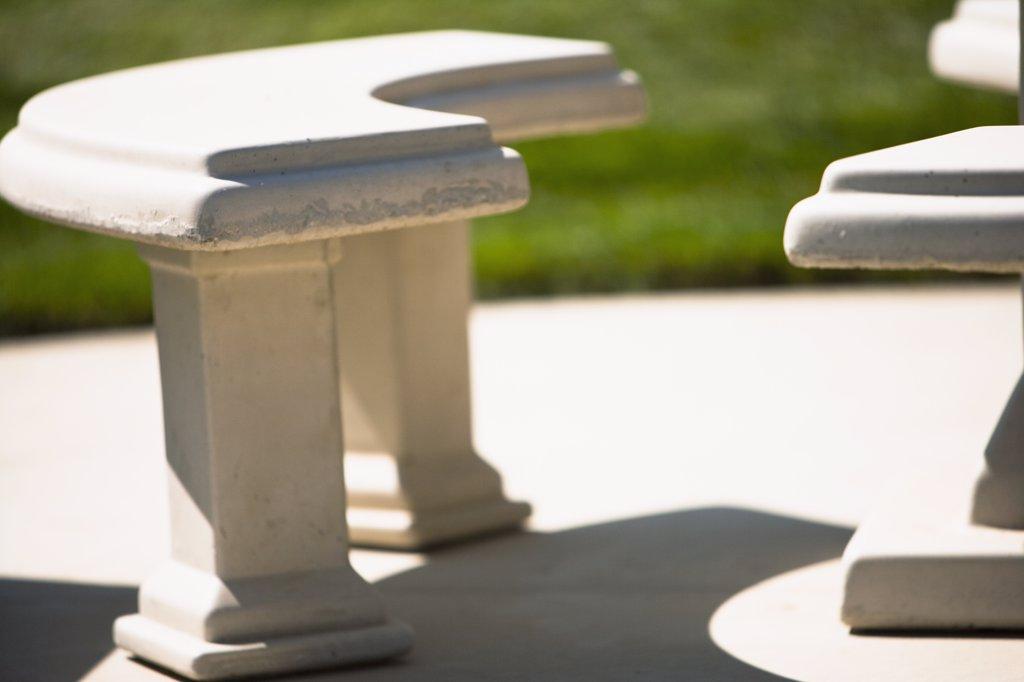 Stock Photo: 4053-9783 Detail concrete benches