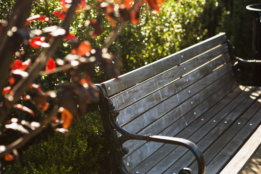 Stock Photo: 4053-9794 Detail of Villa style wooden bench in shade