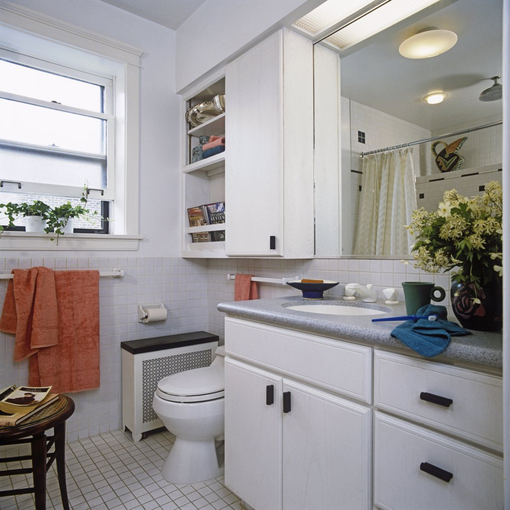 BATHROOMS: Master bath with vanity, toilet,  storage, corian countertops, radiator. : Stock Photo