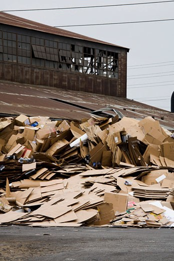 Recycling factory, East LA, Los Angeles, California, USA, United States of America : Stock Photo