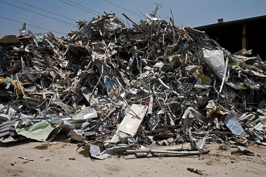 Scrap Metal Pile, Recycling Facility, Los Angeles, California, United States of America : Stock Photo