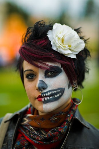 Woman with Painted Face, Day of the Dead Festival, Hollywood Forever Cemetery, Hollywood, Los Angeles, California, United States of America : Stock Photo