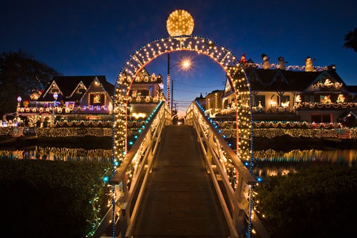 Holiday lights at Venice Canals at Christmas, Venice Beach, Los Angeles County, California, United States of America : Stock Photo
