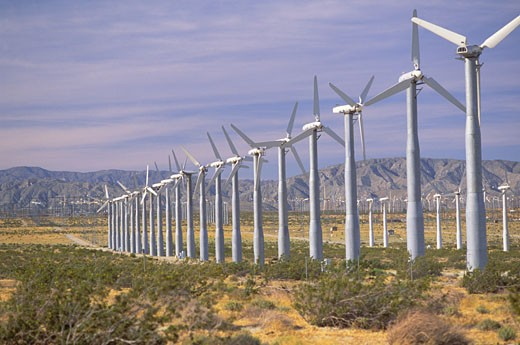 Wind Turbines, Palm Springs, California (DT) : Stock Photo