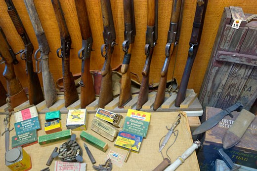 Guns and Ammo, Laws Railroad Museum, Bishop, California : Stock Photo