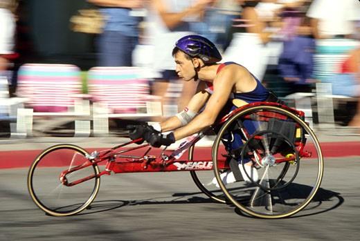 Released, wheelchair racer man motion Mt Shasta California : Stock Photo