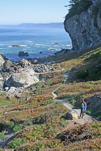 Hikers, Patrick's Point State park, California : Stock Photo
