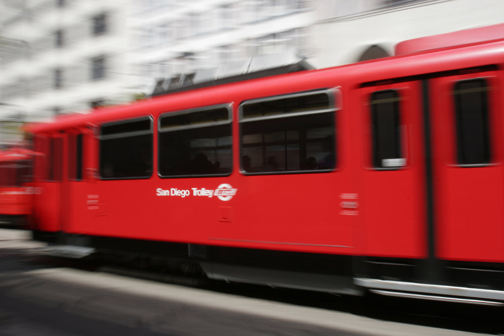 San Diego Trolley, C Street, Downtown San Diego, California (SD) : Stock Photo