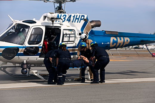 Emergency Responder Special Operations Training - San Carlos Airport, California (CAL FIRE, California Highway Patrol, AMR Ambulance). : Stock Photo
