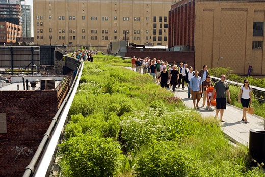 Visitors flock to the new High Line Park in the New York neighborhood of Chelsea on Sunday, June 14, 2009. The park, utilizing the railbed of the former High Line which ceased operation in 1980, has finished the first phase of its transformation into a 1.5 mile park running north from the trendy Meatpacking District. The original High Line, opened in 1934, traveled from West 35th, connecting with the railyards, down to Houston Street, traveling through the center of buildings where goods could : Stock Photo