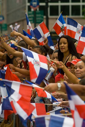 Thousands of Dominican-Americans and their friends and supporters celebrate at the 27th Annual Dominican Independence Day Parade in New York on Sixth Avenue on August 9, 2009.  Politicians, flags and cultural pride were on display at the annual event. ( Richard B. Levine) : Stock Photo