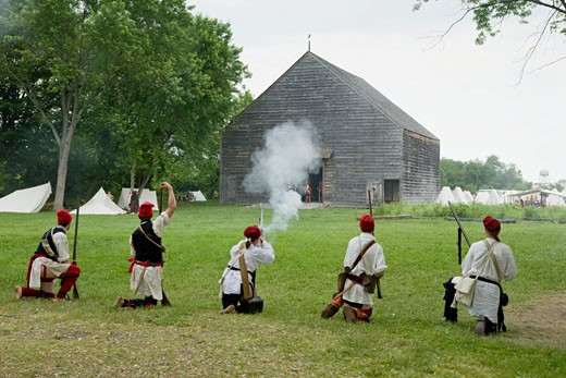 French and Indian War Reenactment at Mabee Farm Rotterdam Junction New York Mohawk Valley Schenectady County New York : Stock Photo