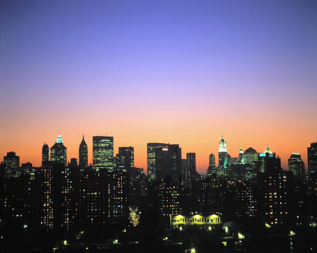 Stock Photo: 4055-3940 Lower Manhattan Skyline, Manhattan, New York