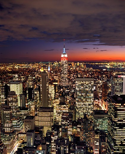 Aerial View of Manhattan And Empire State Building From 30 Rockefeller Center, New York : Stock Photo