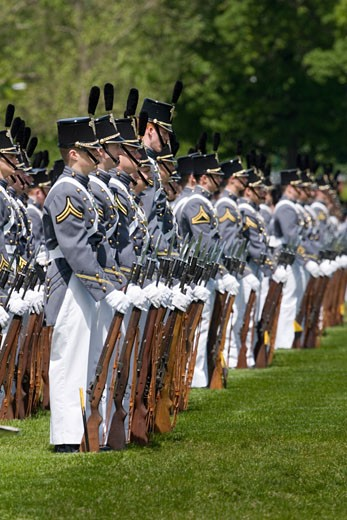 Cadets march annual Alumni Review United States Military Academy at West Point Hudson Valley New York : Stock Photo